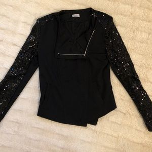 Black blazer with sparkled sleeves